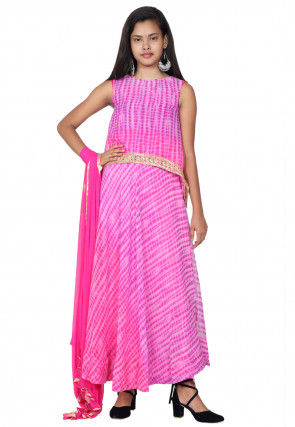 Tie N Dyed Georgette Layered A Line Suit in Pink