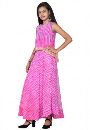 Tie N Dyed Georgette Layered Kurta Set in Pink