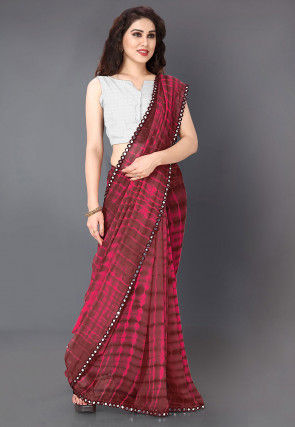 Tie N Dyed Georgette Saree in Fuchsia and Dark Fawn
