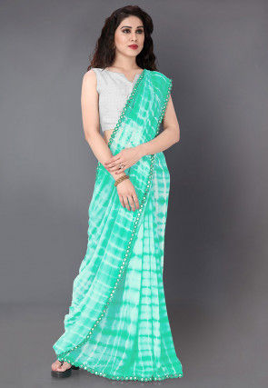 Tie N Dyed Georgette Saree in Light Green and Off White