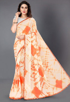Tie N Dyed Georgette Saree in Light Orange and Off White