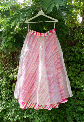 Tie N Dyed Tissue Layered Skirt in Multicolor