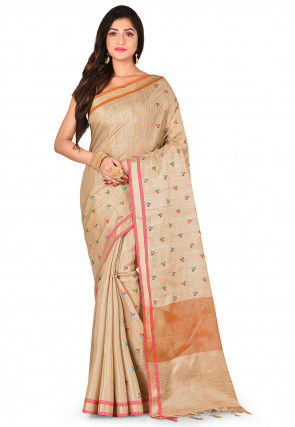 Tissue Silk Saree in Golden