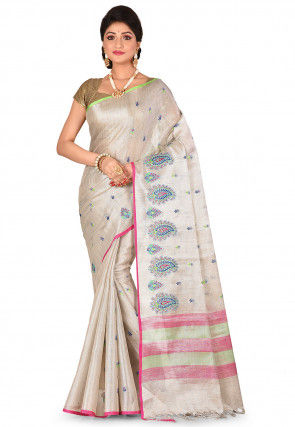 Tissue Silk Saree in Silver