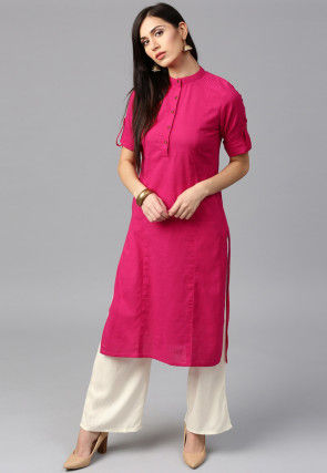 Solid Cotton Kurta Set in Fuchsia
