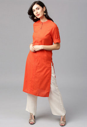 Solid Cotton Kurta Set in Orange