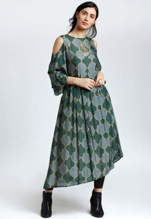 Abstract Printed Muslin Cotton Asymmetric Tunic in Green