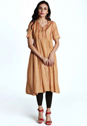 Abstract Printed Muslin Cotton Tunic in Pastel Orange