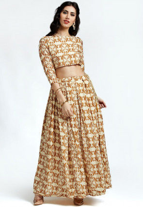Printed Pure Silk Crop Top Set in Cream