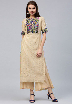 Pure Chanderi Jacquard Kurta Set in Beige