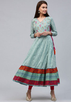 Printed Cotton Angrakha Style Anarkali Kurta in Light Blue