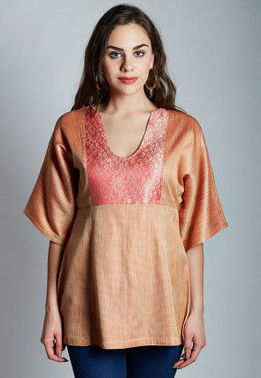Woven Jute Silk Top in Rust