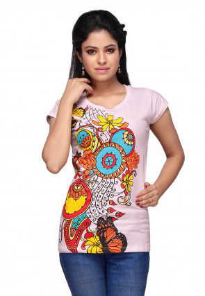 Printed Knitted Cotton Top in Baby Pink