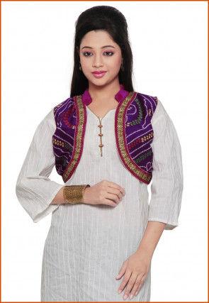 Bandhani Printed Crepe Jacket in Purple