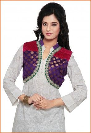 Woven Chanderi Silk and Velvet Jacket in Purple and Red