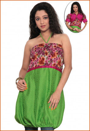 Printed Cotton and Chiffon Jacquard Dress in Green and Off White