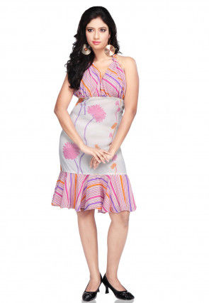 Printed Georgette Dress In Multicolor