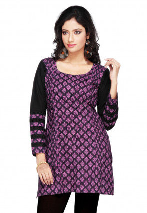 Printed Cotton Short Kurti in Black and Magenta
