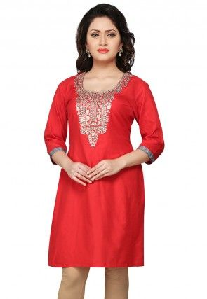 Embroidered Gotapatti Silk Kurti In Red