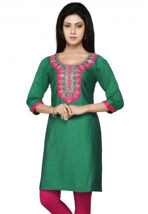 Embroidered Gotapatti Silk Kurti In Green