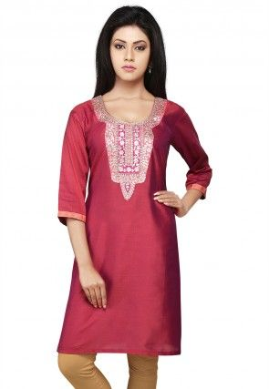 Embroidered Gotapatti Silk Kurti In Old Rose