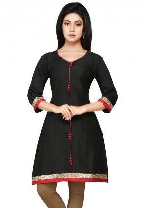Plain Cotton Silk Kurti In Black