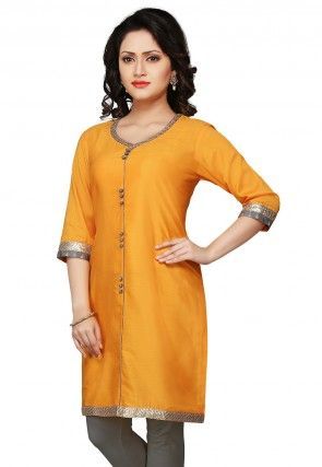 Plain Cotton Silk Kurti In Mustard