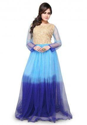 Embroidered Net Gown In Blue