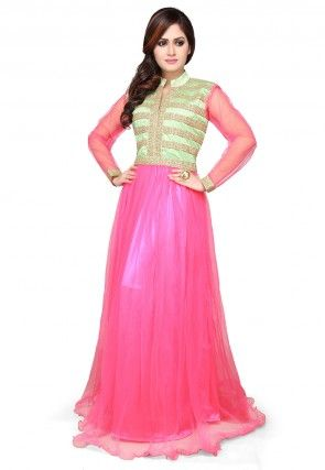 Embroidered Net Gown In Pink and Pastel Green