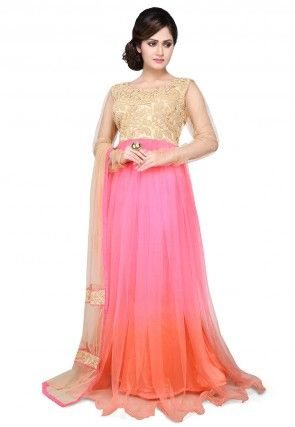 Embroidered Net Gown In Pink and Beige