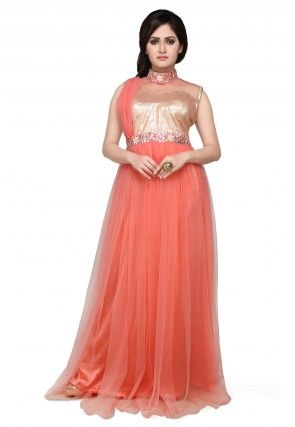 Net and Art Silk Gown In Coral