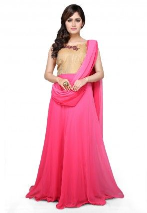 Ombrey Georgette and Brocade Gown In Pink and Beige