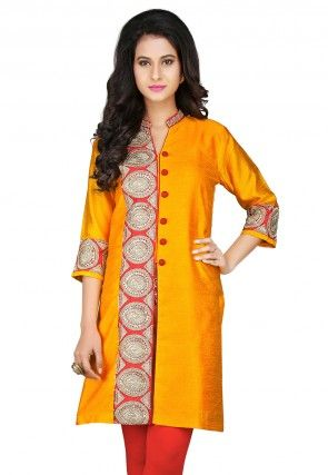 Embroidered Dupion Art Silk Jacket Style Kurti in Mustard