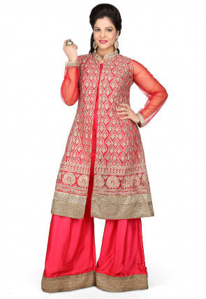 Embroidered Front Slit Satin Kurta Set in Red