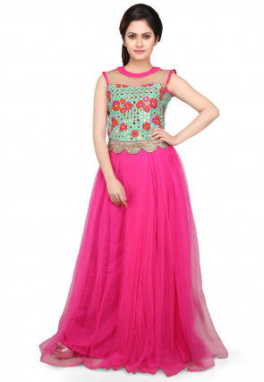 Embroidered Net Pleated Saree Style Gown in Pink