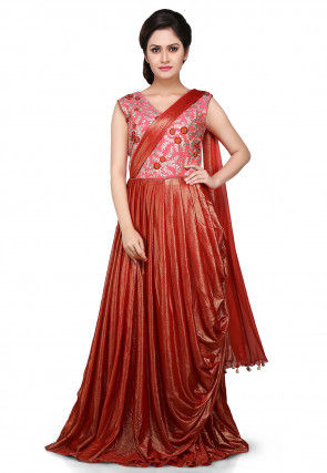 Embroidered Lycra Pleated Saree Style Gown in Rust and Pink