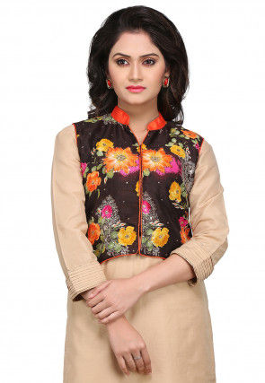 Printed Bhagalpuri Silk Jacket in Black
