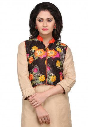 Printed Bhagalpuri Silk Jacket in Black