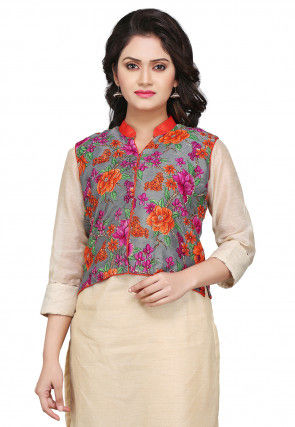Printed Bhagalpuri Silk Jacket in Grey