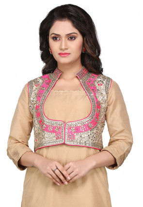 Gota Patti Embroidered Dupion Silk Jacket in Off White