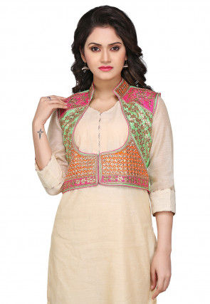 Gota Patti Embroidered Dupion Silk Jacket in Multicolor