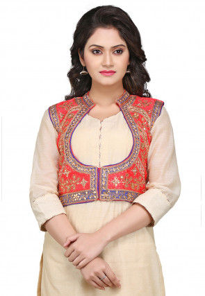Gota Patti Embroidered Dupion Silk Jacket in Coral Red