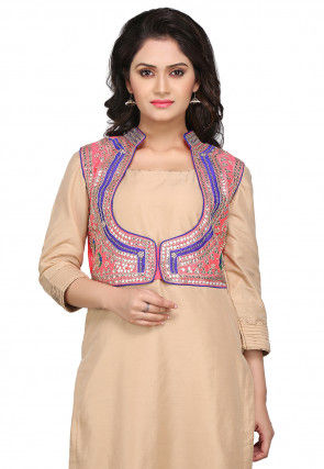 Gota Patti Embroidered Dupion Silk Jacket in Neon Pink