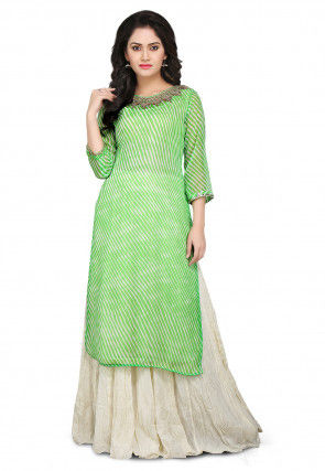 Leheriya Georgette Kurta Set in Green and White