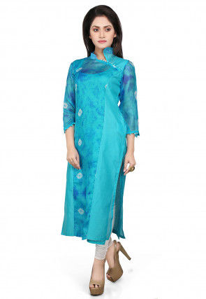 Pure Kota Silk and Cotton Chanderi Long Kurta in Blue