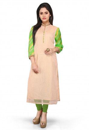 Pure Kota Silk Long Kurta in Beige and Green