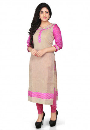 Pure Kota Tissue Long Kurta in Beige and Pink