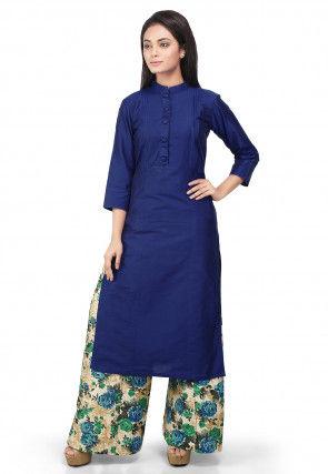 Plain Cotton Silk Kurta Set in Blue