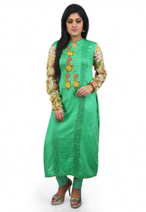 Embroidered Poly Cotton Long Kurta in Teal Green