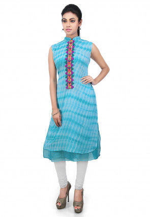 Embroidered Placket Georgette Long Kurta in Sky Blue